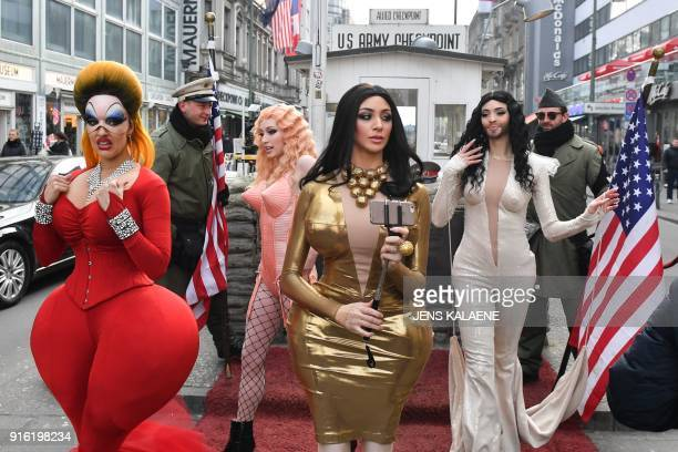Dancers from the Friedrichstadt Palast revue who portray celebrities such as Divine Kim Kardashian Madonna and Conchita Wurst pose with performing...