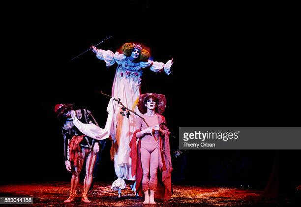 Dancers from the Lindsay Kemp Company performing A Midsummer Night's Dream, a play by William Shakespeare, at the Paris Theater in London under the...