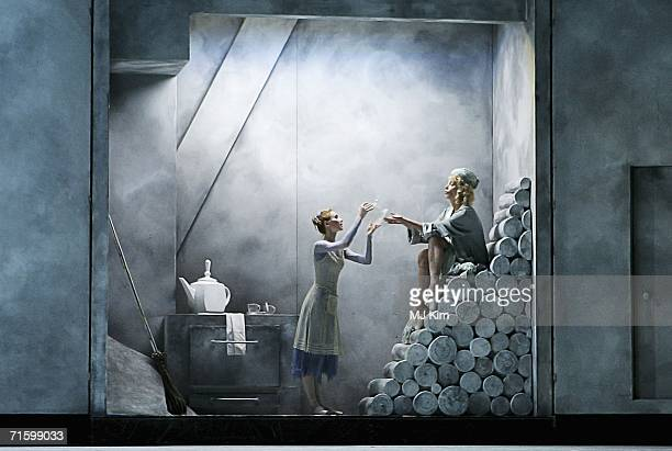 Dancers from the Moscow Bolshoi Theatre Cinderella Ballet Svetlana Zakharova in the role of Cinderella and Maria Volodina as her Stepmother perform...