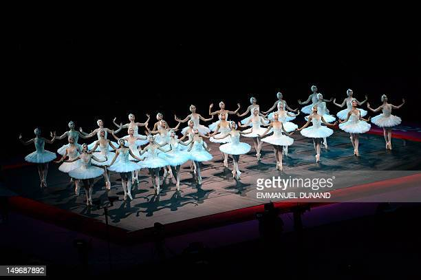 Dancers from the National Ballet perform Swan Lake ahead of the artistic gymnastics women's individual allaround final event at the 02 North...