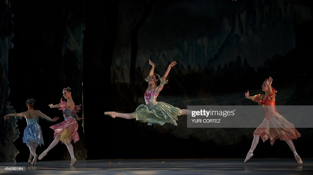 Dancers from the National Dance Company of the National Institute of Fine Arts perform 'The Cinderella' ballet during a photo opportunity for the press at the Fine Arts Palace in Mexico City on August 27, 2014. AFP PHOTO/ Yuri CORTEZ