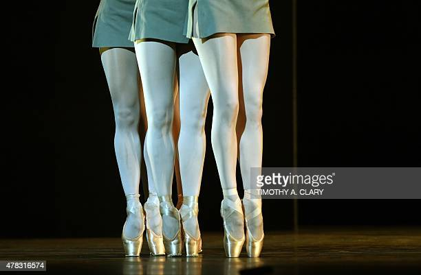 Dancers from the Royal Ballet perform a scene from 'Song of the Earth' June 24 2015 during a dress rehearsal as The Joyce Theater Foundation presents...