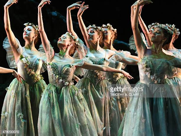 Dancers from the Royal Ballet perform a scene from The Dream during a dress rehearsal before opening night as The Joyce Theater Foundation presents...