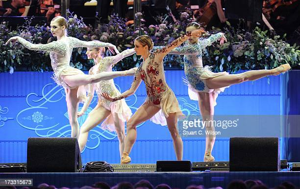 Dancers from the Royal Ballet perform during The Coronation Festival Evening Gala at Buckingham Palace on July 11 2013 in London England