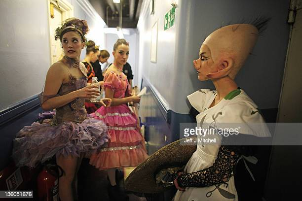 Dancers from the Scottish Ballet wait to go on stage for the dress rehearsal for their current production of 'Sleeping Beauty' at the Theatre Royal...