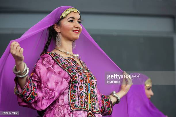 Dancers from the Silk Road Dance Company perform a traditional Afghani dance in Toronto Ontario Canada The Silk Road Dance Company enthralled the...