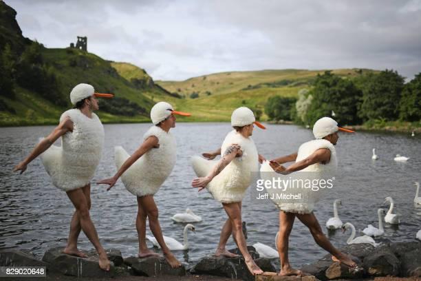 Dancers from 'Tutu' perform at St Margaret's Loch in their spoof Swan Lake costumes on August 10 2017 in Edinburgh Scotland Their Edinburgh Festival...