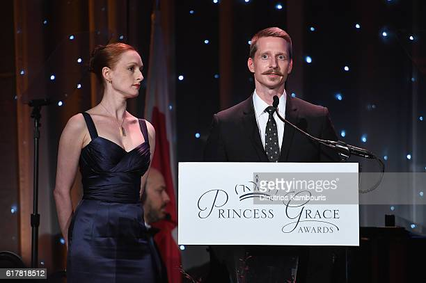 Dancers Gillian Murphy and Ethan Stiefel speak onstage during the 2016 Princess Grace Awards Gala with presenting sponsor Christian Dior Couture at...