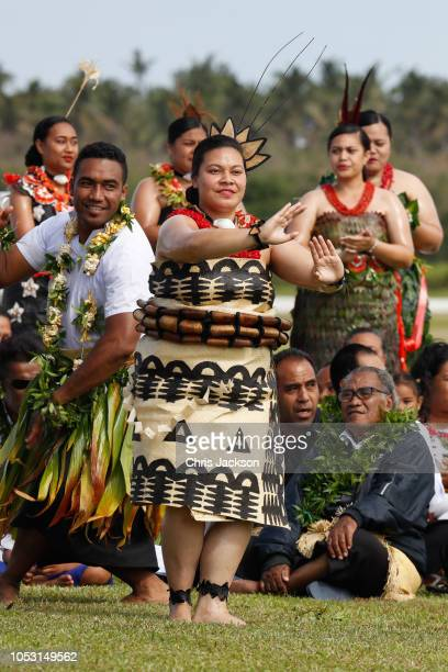 dancers greet Prince Harry Duke of Sussex and Meghan Duchess of Sussex attend Official Arrival in Tonga on October 25 2018 in Nuku'alofa Tonga The...