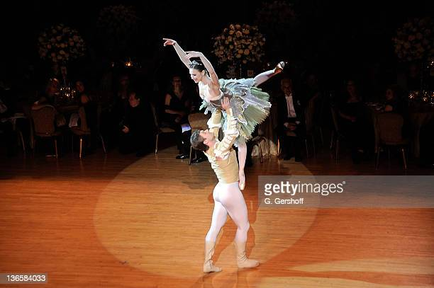 Dancers Gregor Hatala and Mila Schmidt perform during the 56th annual Viennese Opera Ball at The Waldorf=Astoria on February 4 2011 in New York City