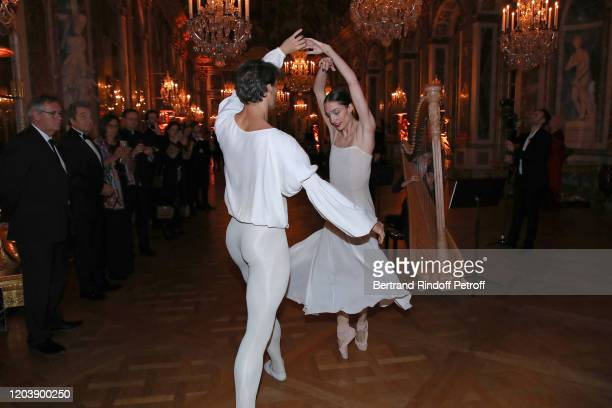 Dancers Hugo Marchand and Dorothee Gilbert perform during the 20th Gala Evening of the Paris Charter Against Cancer for the benefit of the...