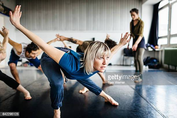 Dancers in a dancing studio during rehearsal
