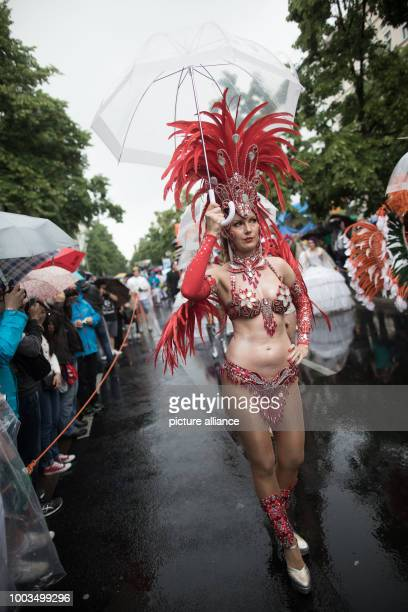 Dancers in little clothing participate in the 22nd Carnival of Cultures despite rainy weather in Berlin Germany 4 June 2017 According to the...
