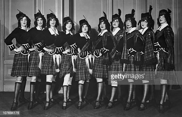 Dancers in Scottish traditional dress for the 'Annie Laurie' number in 'Vanity Fair of 1923' a charity show at the Waldorf Hotel New York City in aid...