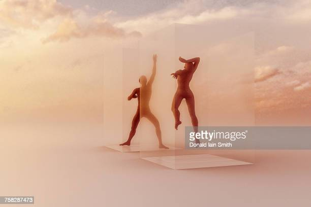 dancers in suspended animation in clouds - ice cube entertainer stock pictures, royalty-free photos & images