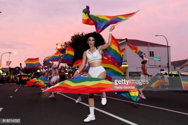 Dancers in the parade on February 17 2018 in Auckland New Zealand The Auckland Pride Parade is part of the annual Pride Festival promoting awareness...