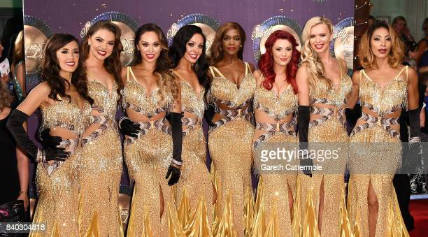 Dancers Janette Manrara Chloe Hewitt Katya Jones Amy Dowden Oti Mabuse Dianne Buswell Nadiya Bychkova and Karen Clifton attend the 'Strictly Come...