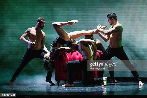 Dancers Jenna Johnson Artem Chigvintsev Keo Motsepe Gleb Savchenko and Alan Bersten perform during the Dancing With The Stars Live Tour at Paramount...