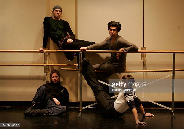Dancers Johan Kobborg Nikolay Tsiskaridze Ethan Stiefel and Angel Corella are photographed in a rehearsal room where they are practicing for their...