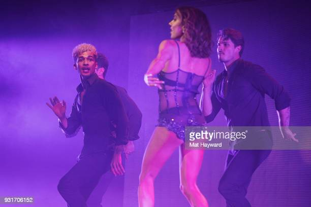 Dancers Jordan Fisher Jenna Johnson and Gleb Savchenko perform on stage during Dancing With The Stars Live at WaMu Theater on March 13 2018 in...
