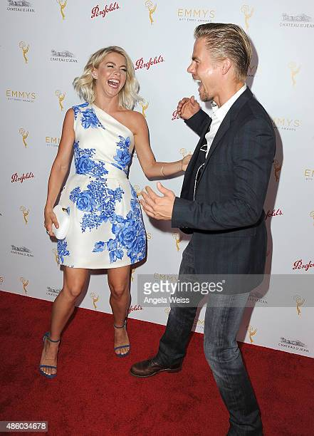 Dancers Julianne Hough and Derek Hough arrive at the Television Academy's cocktail reception for The 67th Emmy Award Nominees for Outstanding...