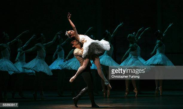 Dancers Julie Diana and Yury Yanowsky with the Corp de Ballet perform Swan Lake at The Festival Theatre on 15 August Edinburgh, Scotland. The classic...