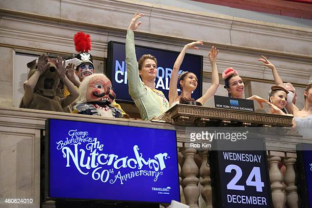 Dancers Lauren Lovette and Chase Finlay with the New York City Ballet Production of George Balanchine's The Nutcracker ring the NYSE Opening Bell at...