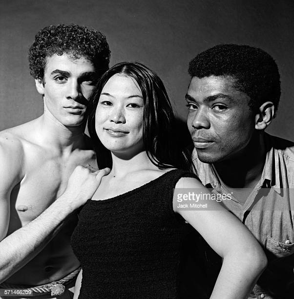 Dancers Louis Falco and Mariko Sanjo with Alvin Ailey about to perform his work 'Labyrinth' in May 1963