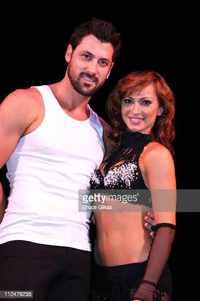 Dancers Maksim Chmerkovskiy and Karina Smirnoff attend the Burn The Floor dress rehearsal at the Longacre Theatre on July 24 2009 in New York City