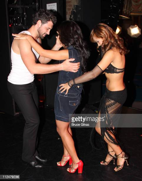Dancers Maksim Chmerkovskiy and Karina Smirnoff attend the 'Burn The Floor' dress rehearsal at the Longacre Theatre on July 24 2009 in New York City
