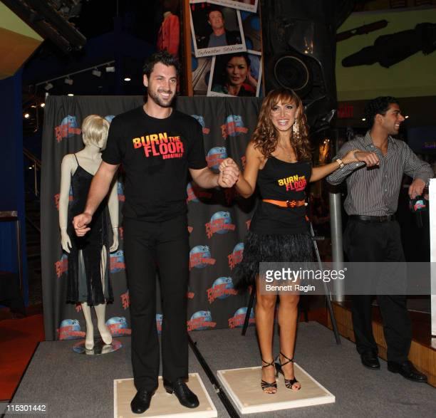 Dancers Maksim Chmerkovskiy and Karina Smirnoff visits Planet Hollywood Times Square on August 6 2009 in New York City