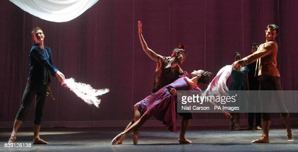 Dancers Maria Ledesma and Noah Hellwig during a dress rehearsal for Ballet Ireland's Scheherazade and 1001 Arabian nights which runs at the Gaiety...
