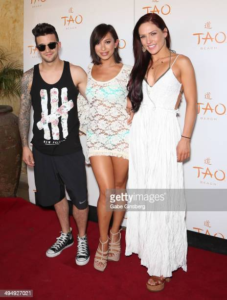 Dancers Mark Ballas, Cheryl Burke and Sharna Burgess arrive at a birthday celebration hosted by Cheryl Burke at the Tao Beach at The Venetian Las...