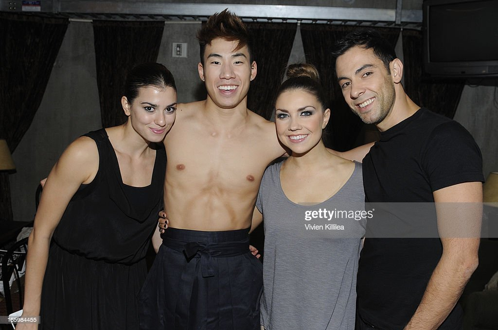 Dancers Melissa Bourkas, Miles Yeung, Jenna Johnson and Chad Ozadan backstage at FOX's 'So You Think You Can Dance' Stacey Tookey Debuts 'Moments Defined' Dance Company at Nate Holden Theatre Center on November 9, 2012 in Los Angeles, California.