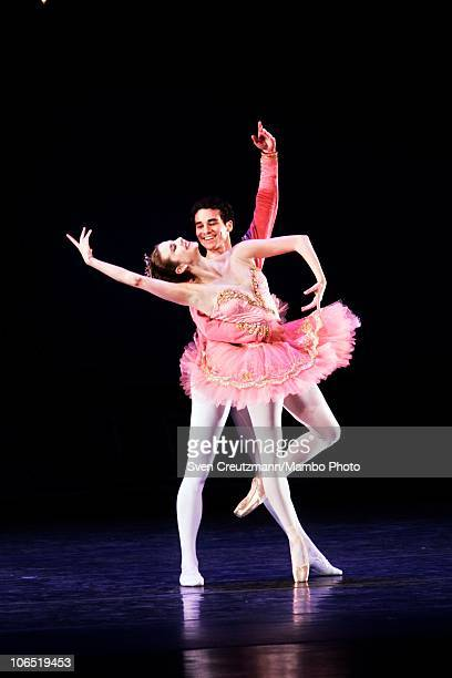 Dancers Michelle Wiles and Cory Stearns of the American Ballet Theatre perform during a show in the Karl Marx Theatre on November 3 in Havana, Cuba....