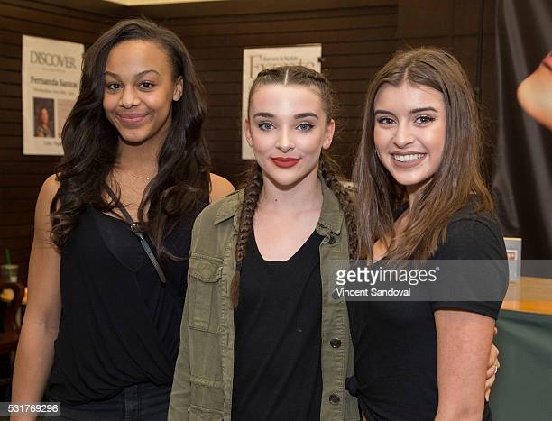 Dancers Nia Frazier Kendall Vertes and Kalani Hilliker attend Meghan Trainor signs her new CD Thank You at Barnes Noble at The Grove on May 16 2016...
