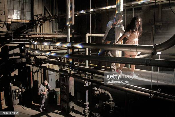 OCT 30 2013 Dancers Nicholas Heitzeberg Marissa Labog dance in the boiler room with musician Andrew Pask in The Groundskeepers by Heidi Duckler Dance...