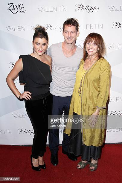 Dancers Nicole Volynets Tristan MacManus and actress Valerie Harper attend Valentin Launch Party at Philippe Chow on October 17 2013 in Los Angeles...
