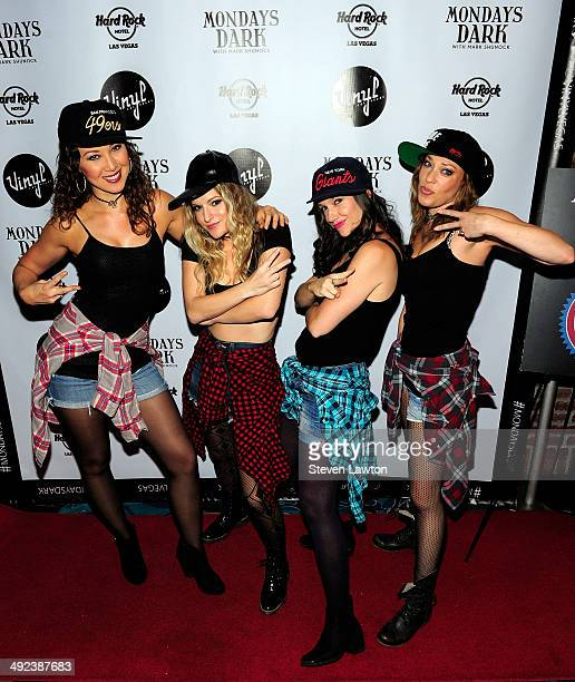 Dancers Nikka Wahl, Nicole Kaplan, Lauren Tartaglia and Sarah Lowe arrive at 'Mondays Dark With Mark Shunock' benefiting the NF Network at Vinyl...