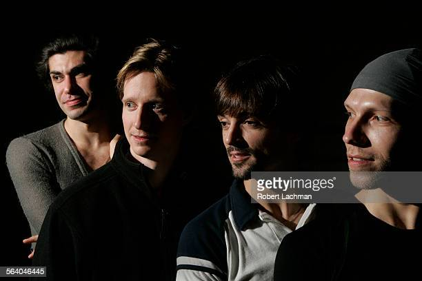 Dancers Nikolay Tsiskaridze Ethan Stiefel Angel Corella and Johan Kobborg are photographed in a rehearsal room where they are practicing for their...
