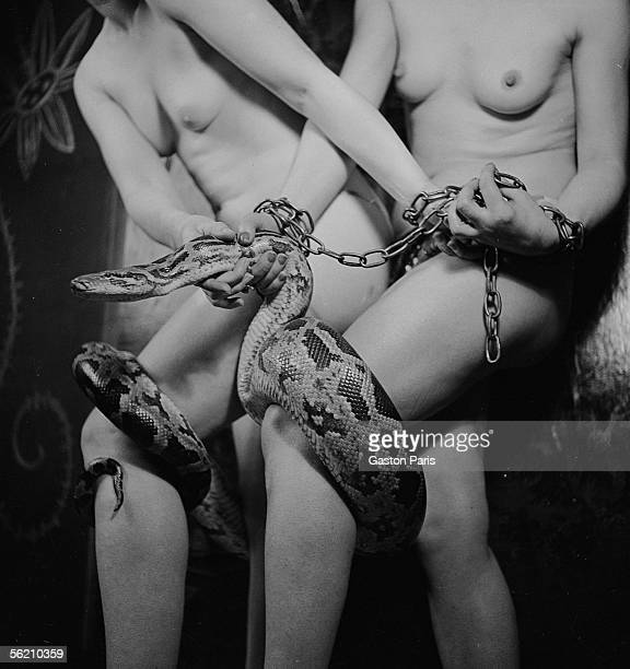 Dancers nudes with a snake Paris about 19371939