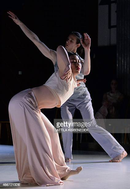 Dancers of a Hungarian contemporary group the 'Central Europe Dance Theater ' perform on the stage in the National Dance Theater of the MOM cultural...