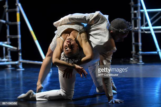 Dancers of a Hungarian contemporary group with classical ballet basics the 'Kulcsar Noemi Tellabor' group Dalma Weninger and Gabor Halasz perform on...