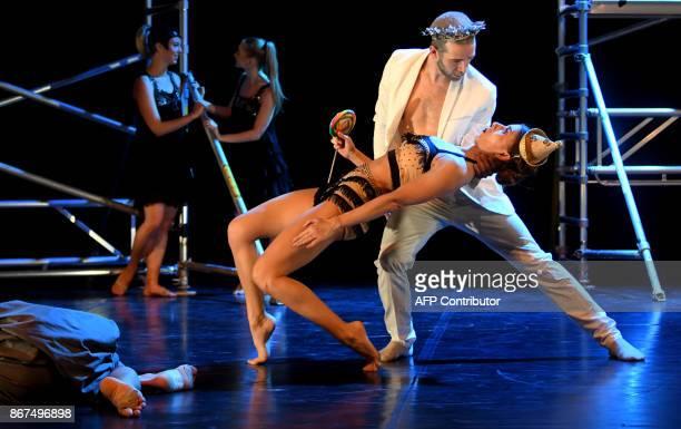 Dancers of a Hungarian contemporary group with classical ballet basics the 'Kulcsar Noemi Tellabor' group Kitti Hajszan and Gabor Halasz perform on...