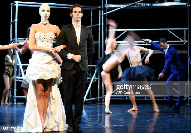 Dancers of a Hungarian contemporary group with classical ballet basics the 'Kulcsar Noemi Tellabor' group perform on the stage of the 'Varkert Bazar'...