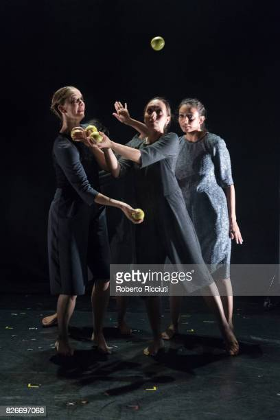Dancers of Gandini Juggling perform 'Sigma' on stage during a show at Assembly Hall during the annual Edinburgh Fringe Festival on August 5 2017 in...