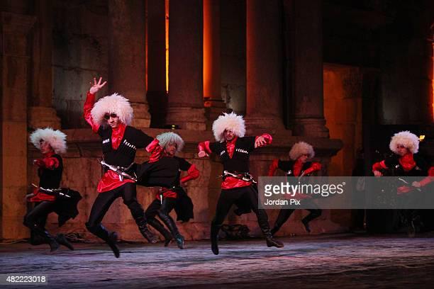Dancers of Jordanian club AlJeel AlJadeed perform arts of the Circassian dance a major componenet of the Circassian culture at the main amphitheatre...