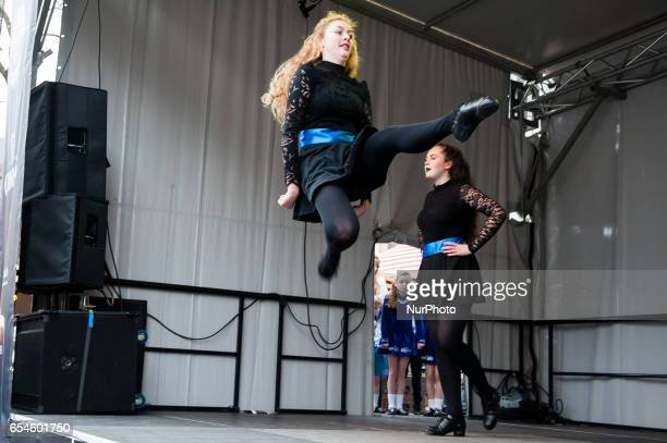 Dancers of Redmond School of Irish Dancing Holland celebrate St Patrick's day for the seventh time in the Dutch city of The Hague on 17 march 2017...