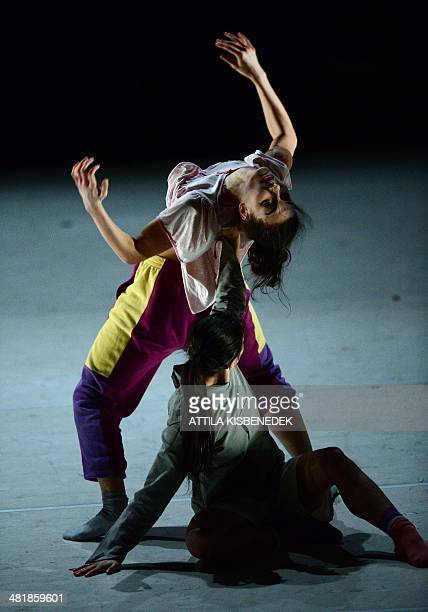 Dancers of the 25yearold Central European Dance Theatre perform on stage at the Arts' Palace in Budapest on April 1 2014 during the dress reharsal of...