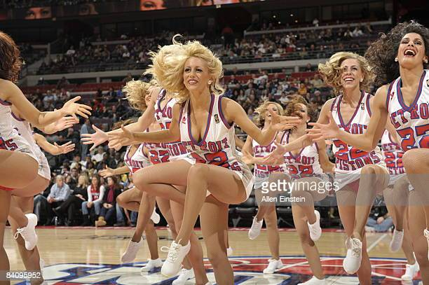 Dancers of the Automotion dance team for the Detroit Pistons preform during a timeout in a game against the Utah Jazz in a game at the Palace of...